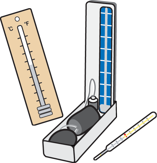Mercurial thermometer, image of mercurial sphygmomanometer, mercury thermometer