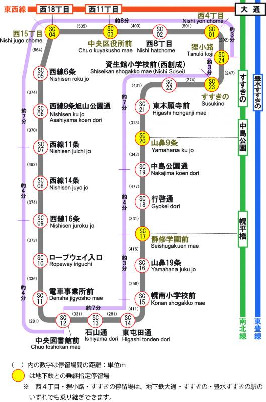 Sapporo Subway Map.Route Maps